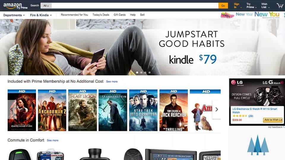 Página de inicio personalizada de Amazon basada en estudios de análisis del comportamiento