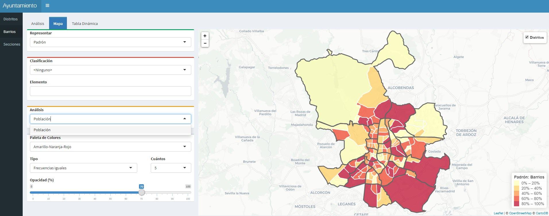 visualización de datos sobre mapa